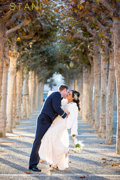 photos of bride and groom in front of city hall