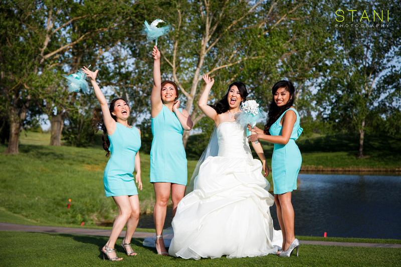 As For Their Wedding Theme They Picked Tif Blue Cake Ties Bridesmaids Dresses Accent Of In The Bouquets