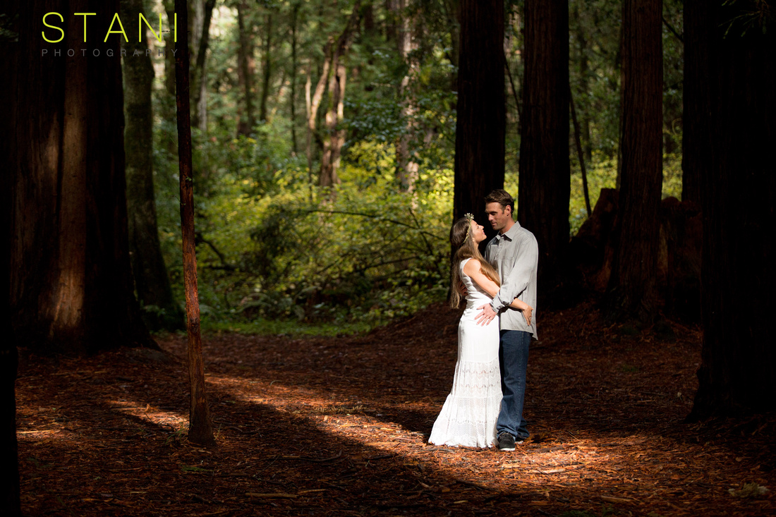 santa cruz engagement portraits in white dress