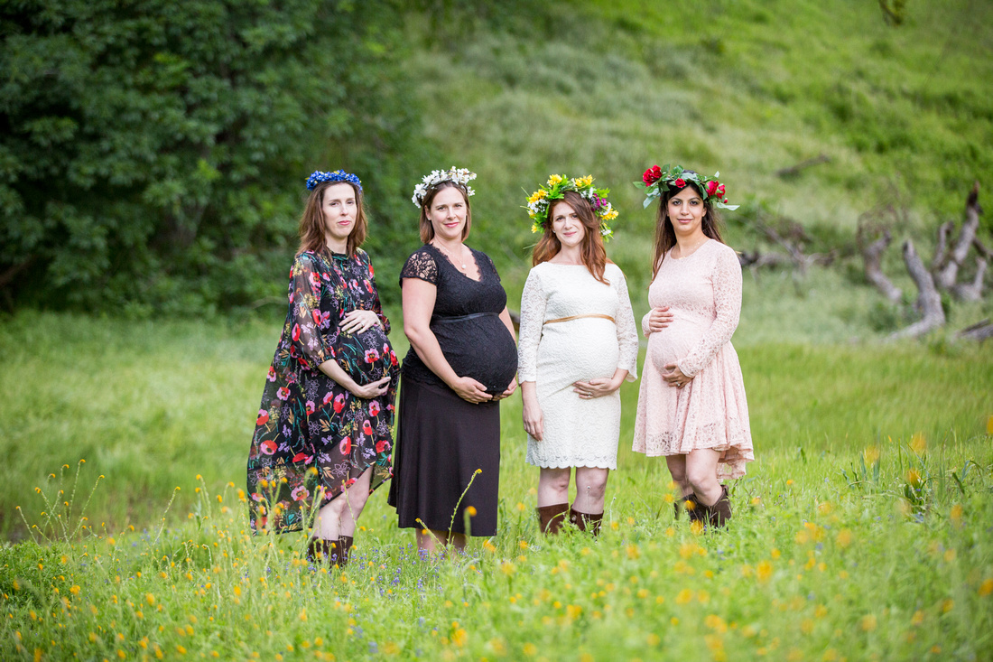 maternity group portrait with flower crowns