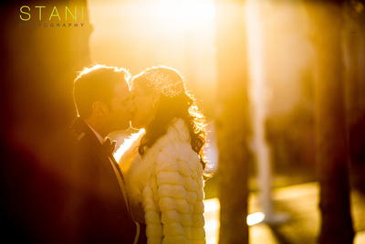backlit wedding portraits